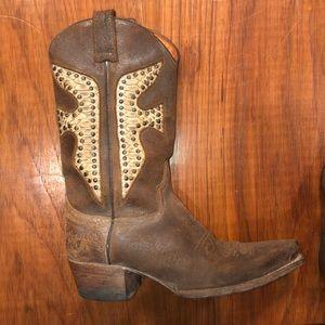 FRYE distressed croc embossed western boots
